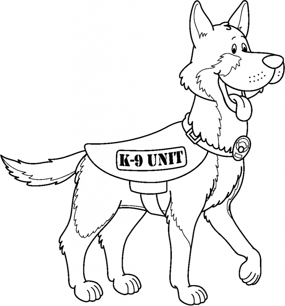 K9 Unit German Shepherd Coloring Page