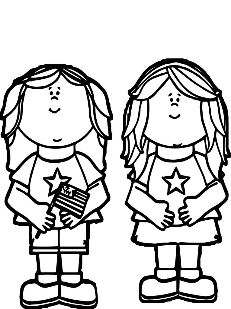 Kids Celebrating Flag Day Coloring Page