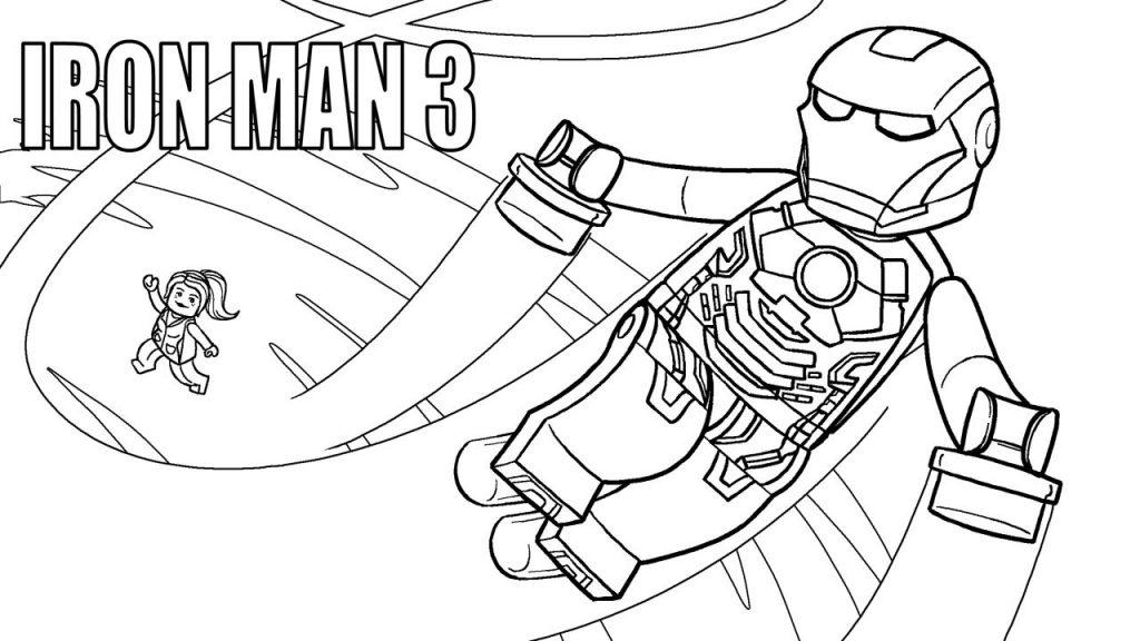 Lego Iron Man Superhero Coloring Page