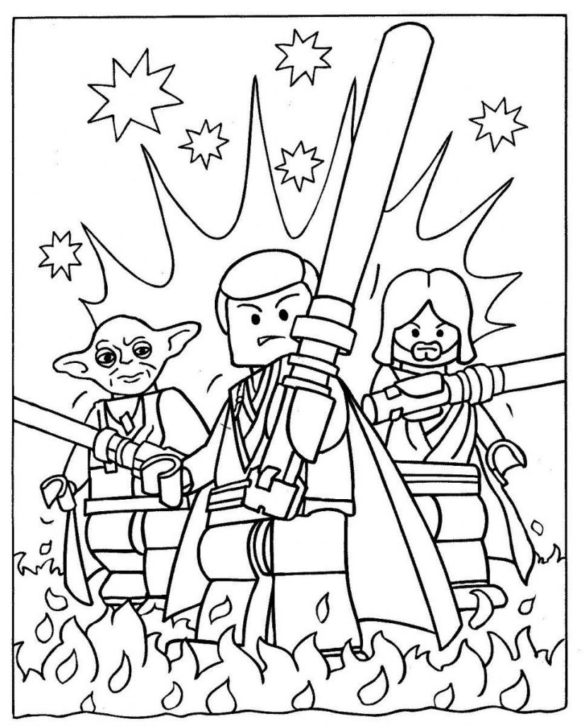 Lego Star Wars Yoda Coloring Page