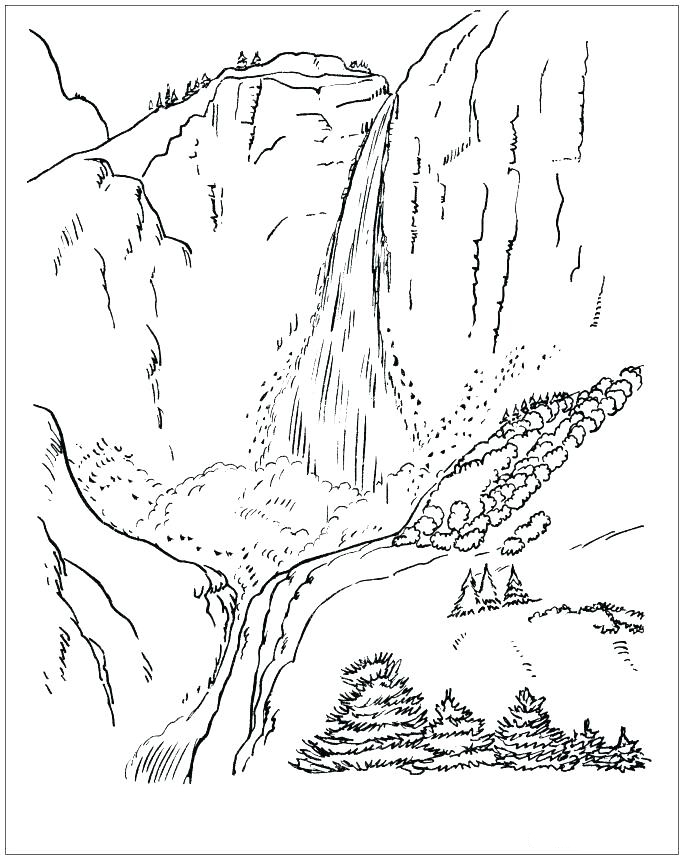 Mountain Scene Waterfall Coloring Page