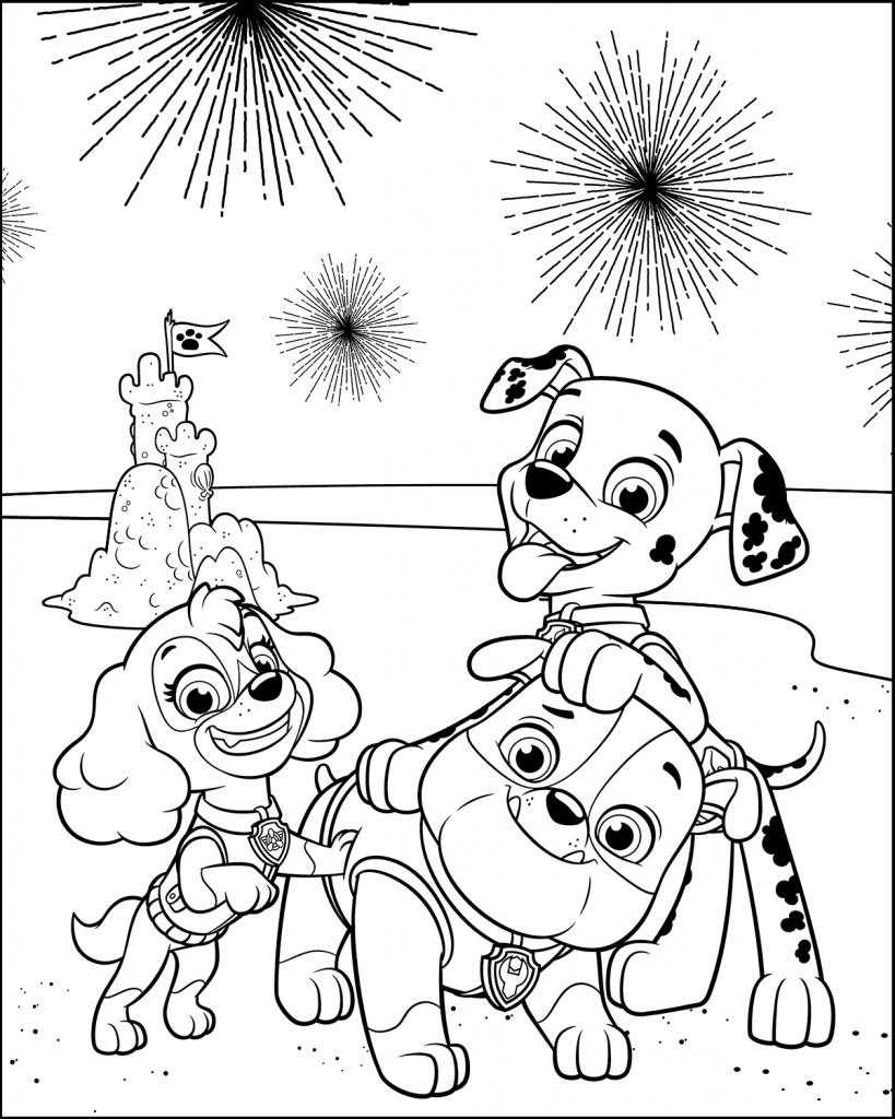 Paw Patrol 4th of July Coloring Pages