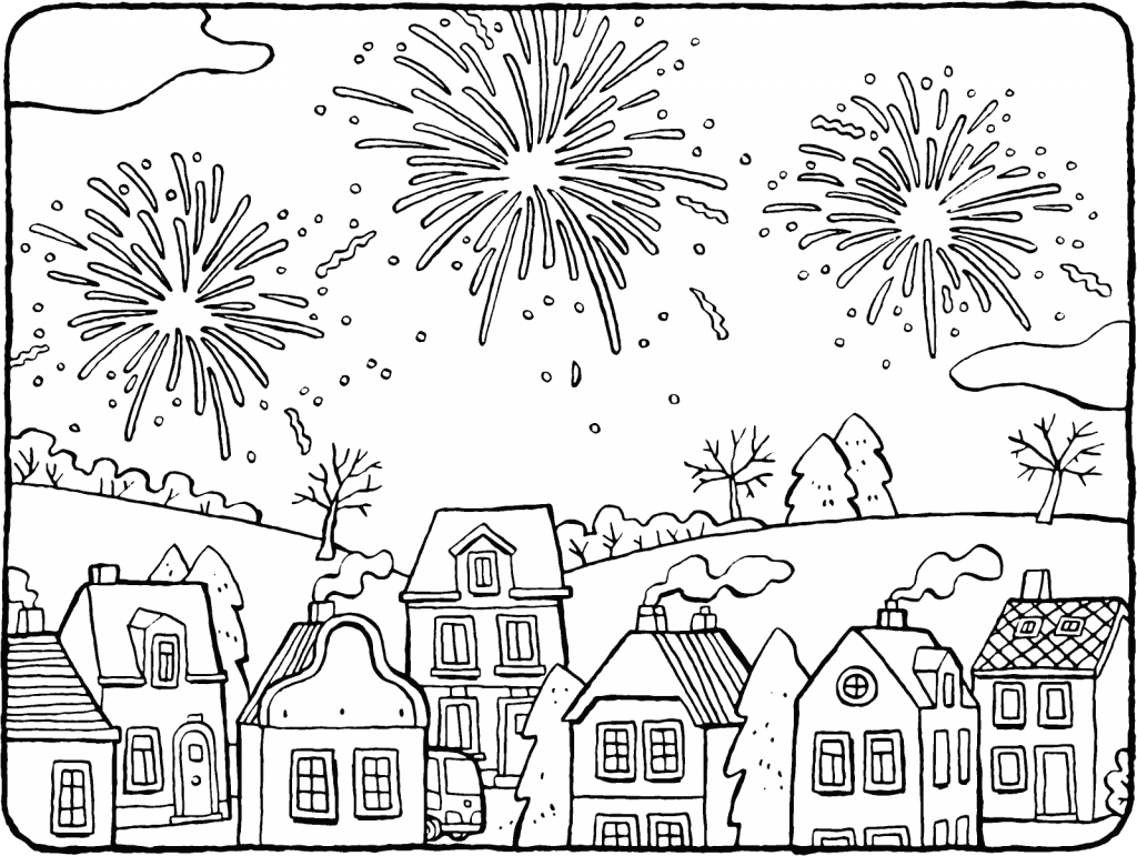 Pretty Fireworks Scene Coloring Page