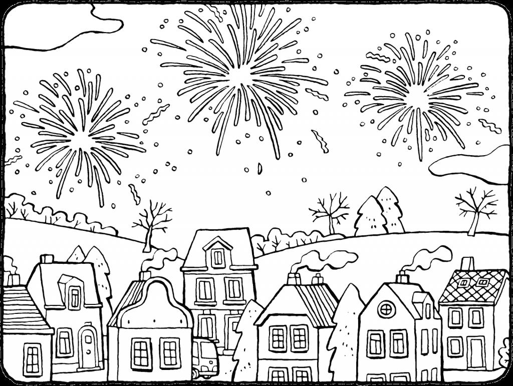 Pretty Fireworks Scene Coloring Page