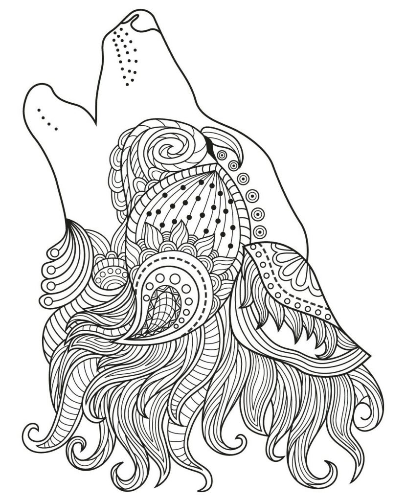 Pretty Wolf Coloring Page for Adults