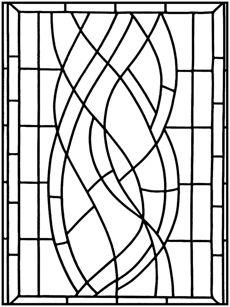 Simple Stained Glass Pattern Adult Coloring