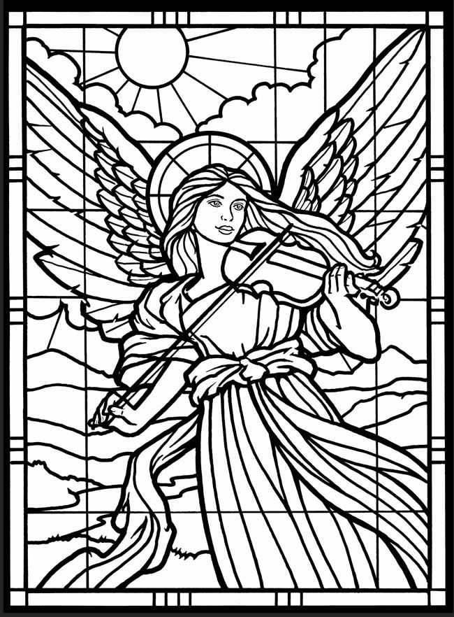 Stained Glass Angel Coloring Page for Adults