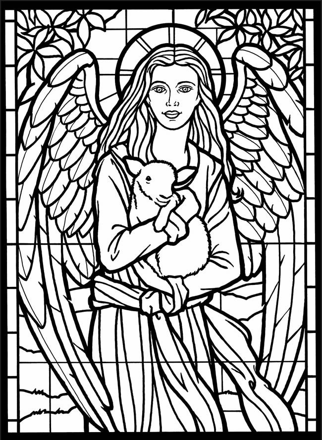 Stained Glass Angel Coloring Page