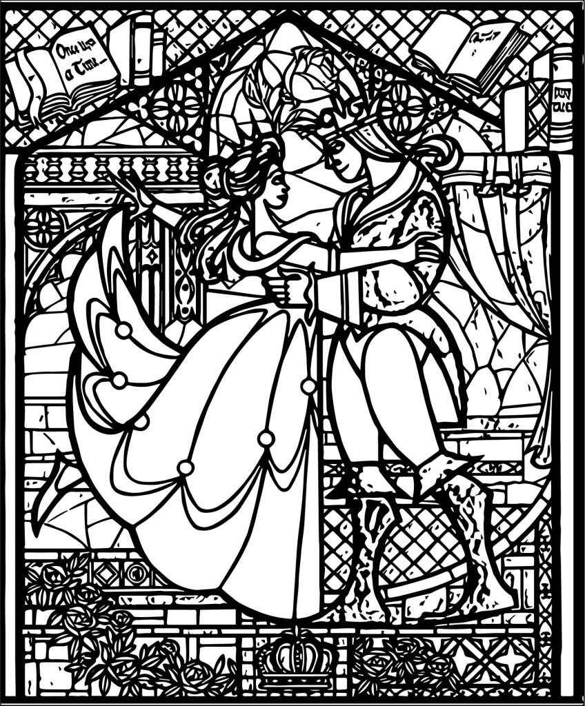 Stained Glass Beauty and the Beast Coloring Page