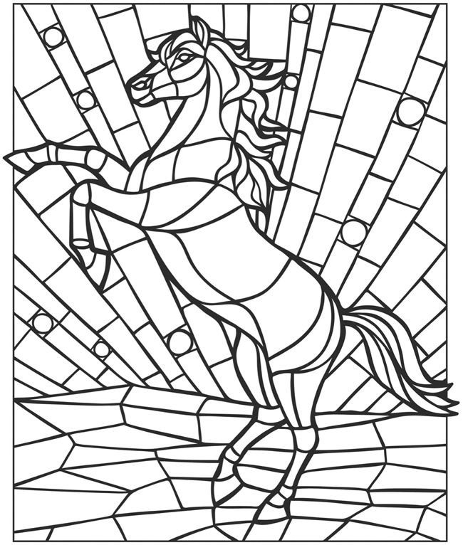 Stained Glass Horse Coloring Page