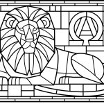 Stained Glass Lion Coloring Page