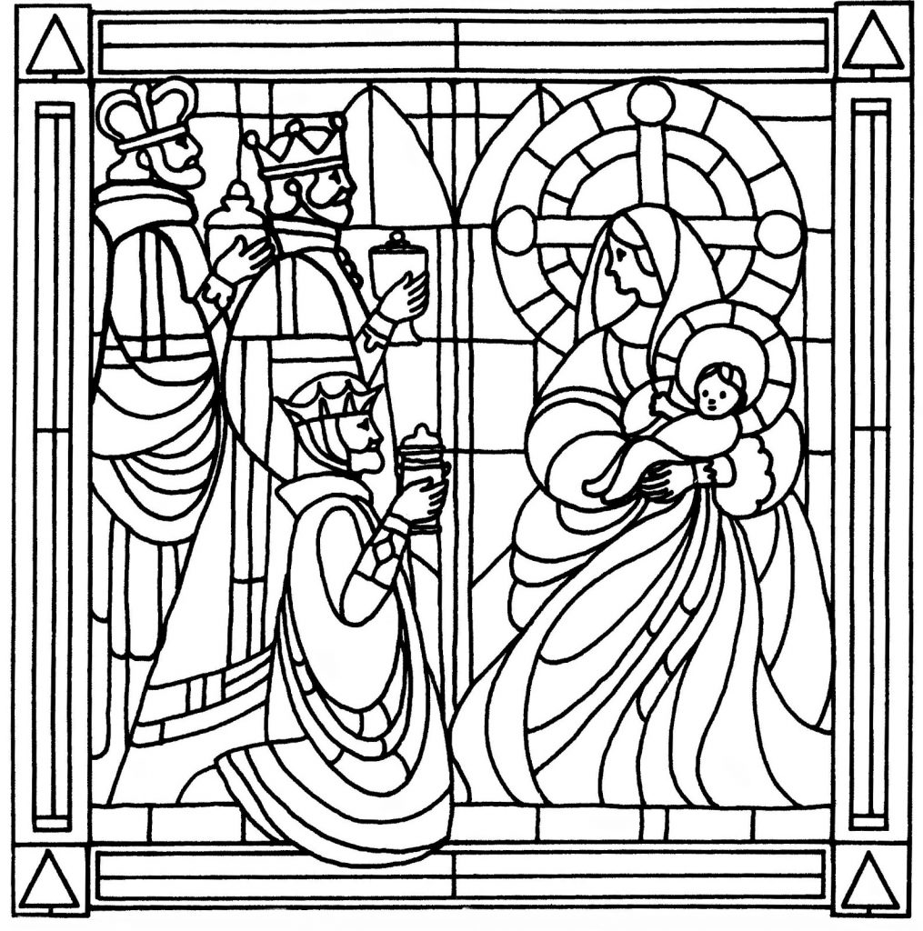 Stained Glass Nativity Coloring Pages