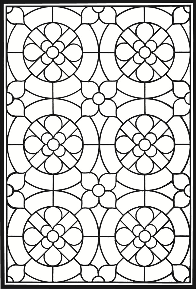 Stained Glass Pattern Adult Coloring Pages