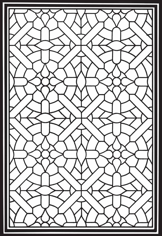 Stained Glass Pattern For Adults to Color