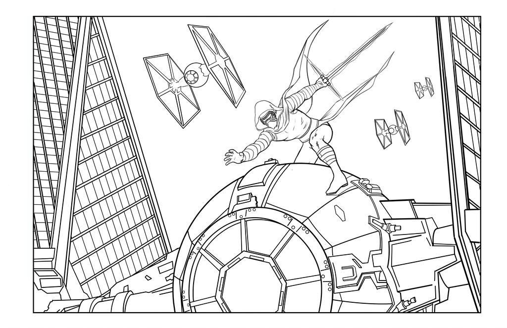 Star Wars Scene Kylo Ren Coloring Page