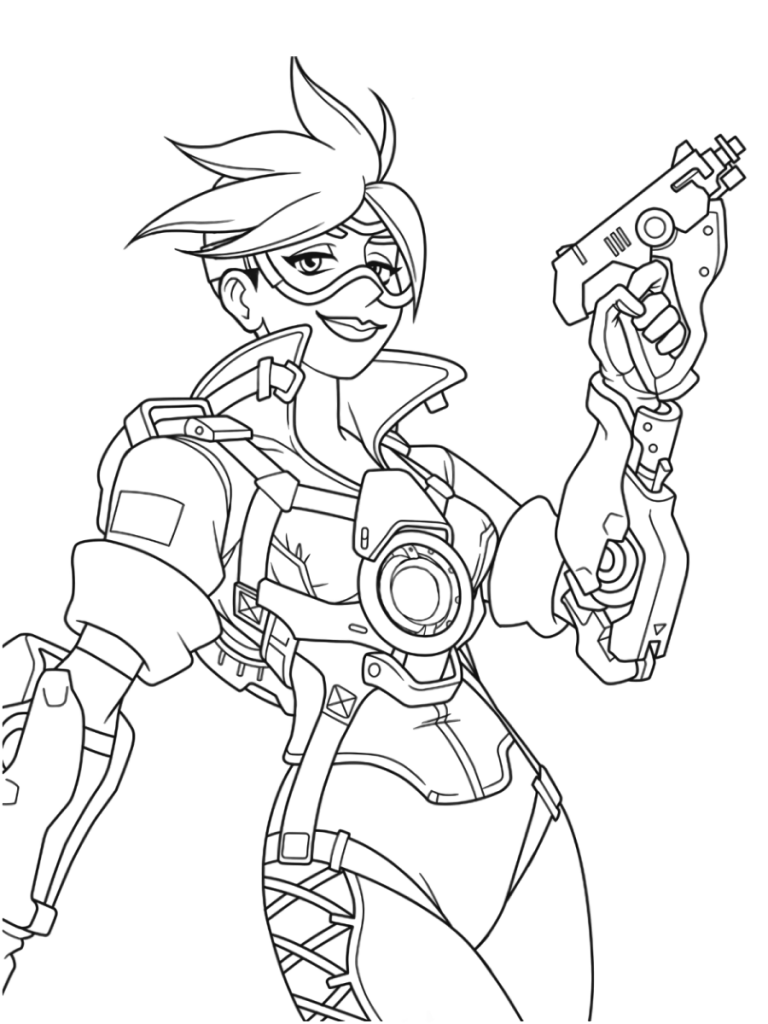 Tracer Overwatch Coloring Pages