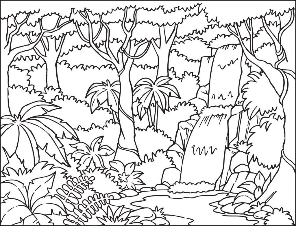 Tropical Waterfall Coloring Pages