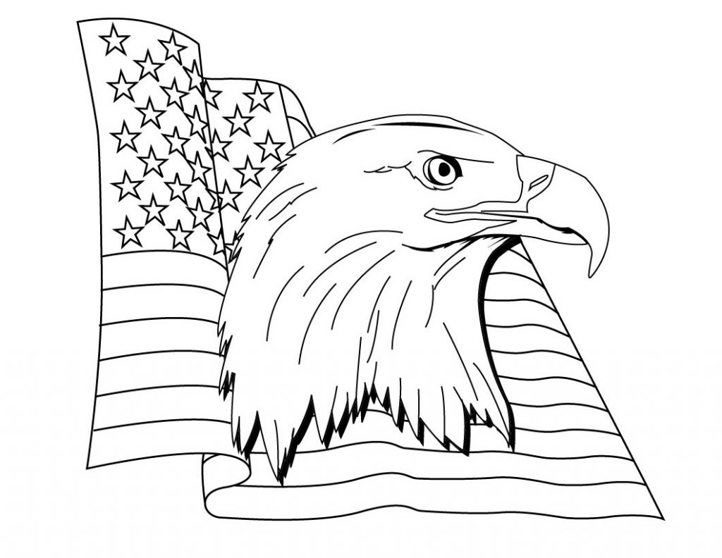 US Eagle Flag Day Coloring Page