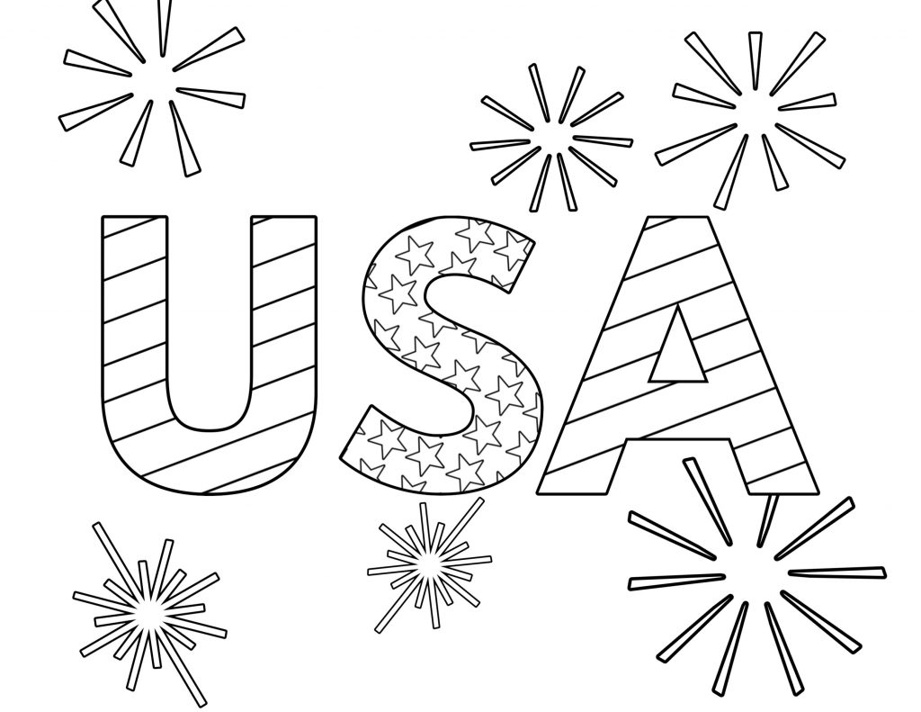 USA in July Coloring Page