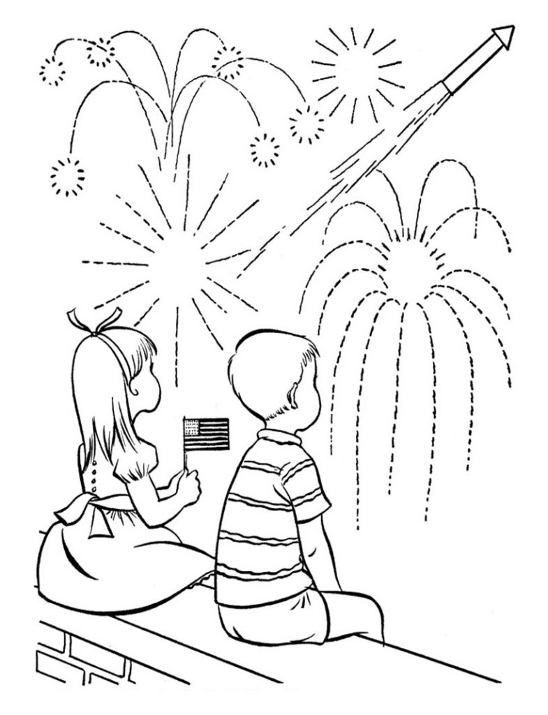 Watching Fireworks in July Coloring Pages