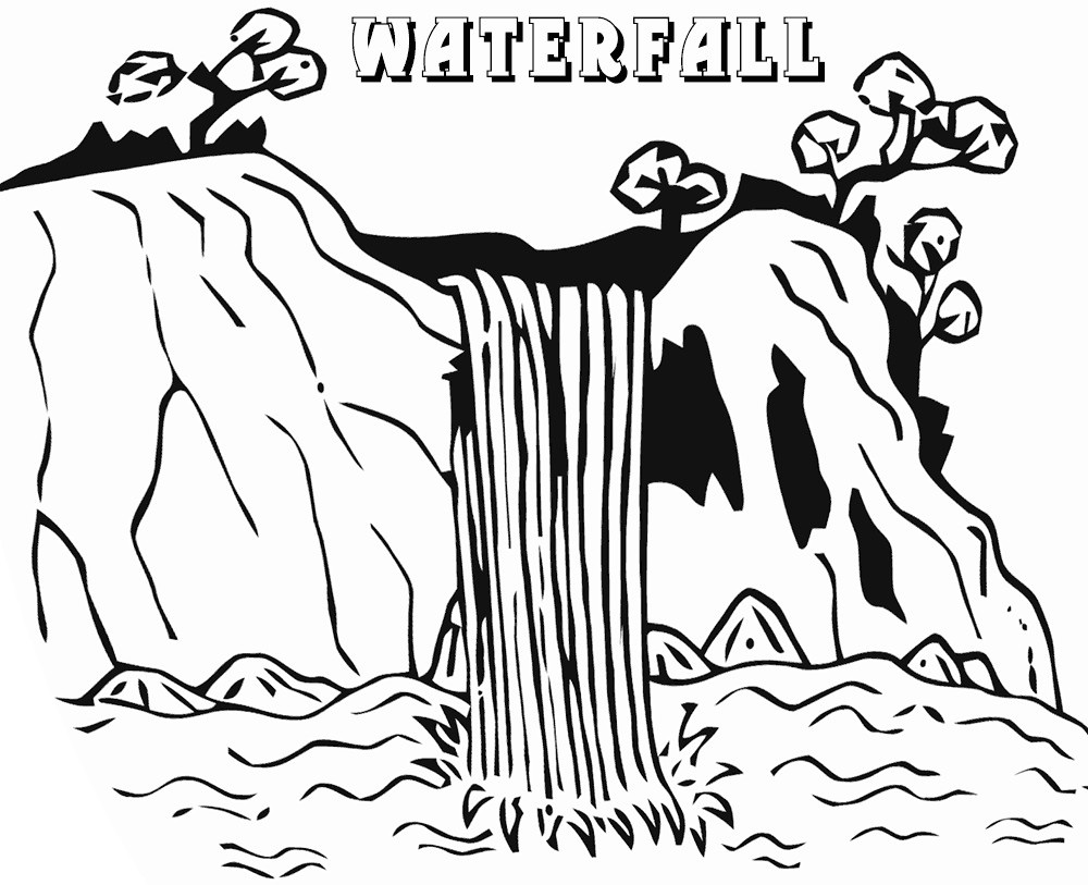 Waterfall Coloring Page