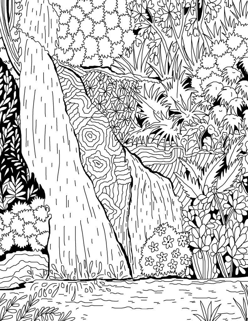 Waterfall Coloring Pages for Adults