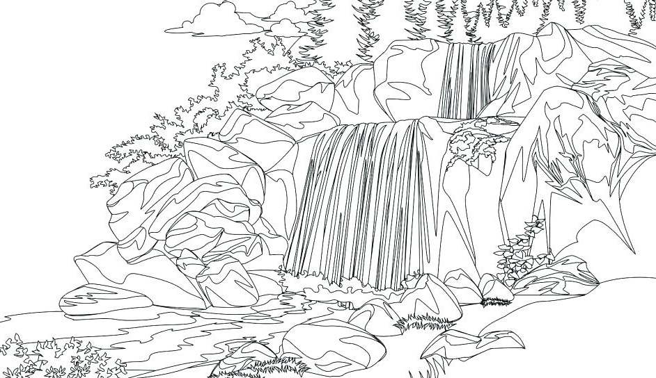 Waterfall Printable Coloring Pages
