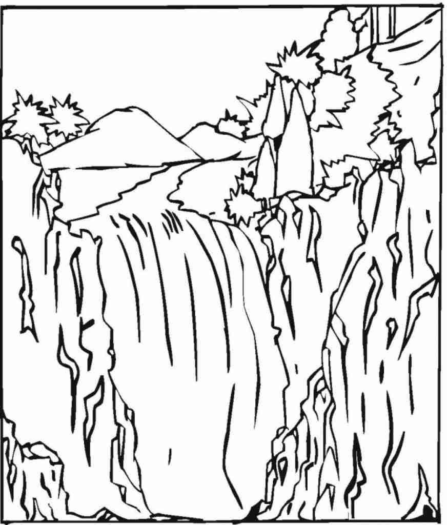 Waterfall Scene Coloring Pages