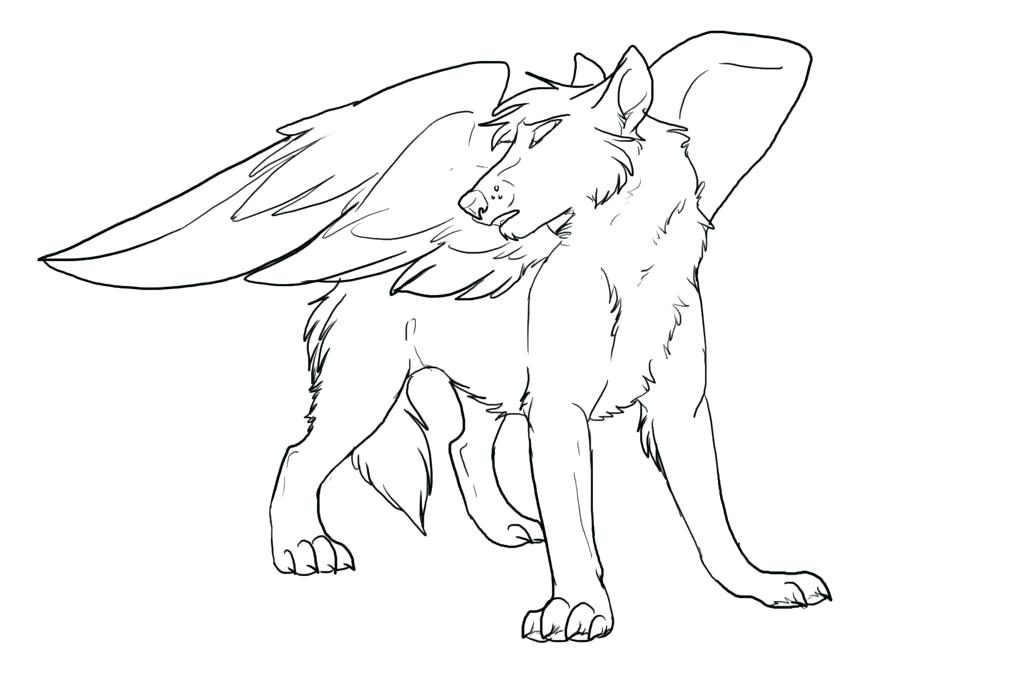 Winged Wolf Adult Coloring Page