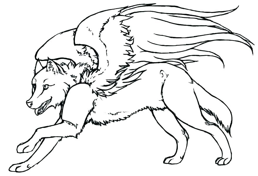 Winged Wolf Coloring Page for Adults