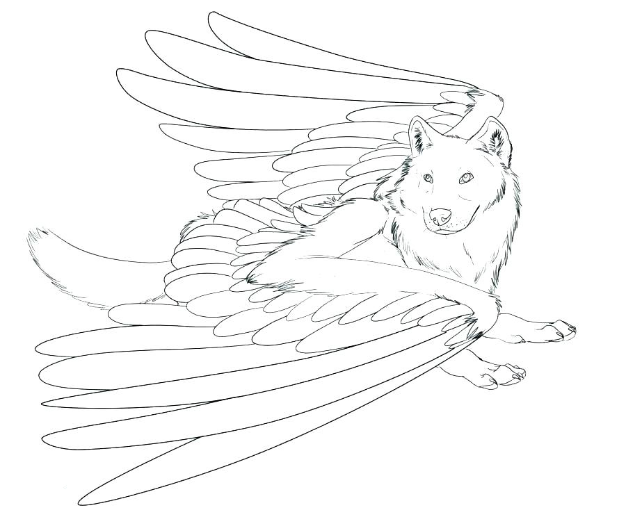 Winged Wolf Coloring Page