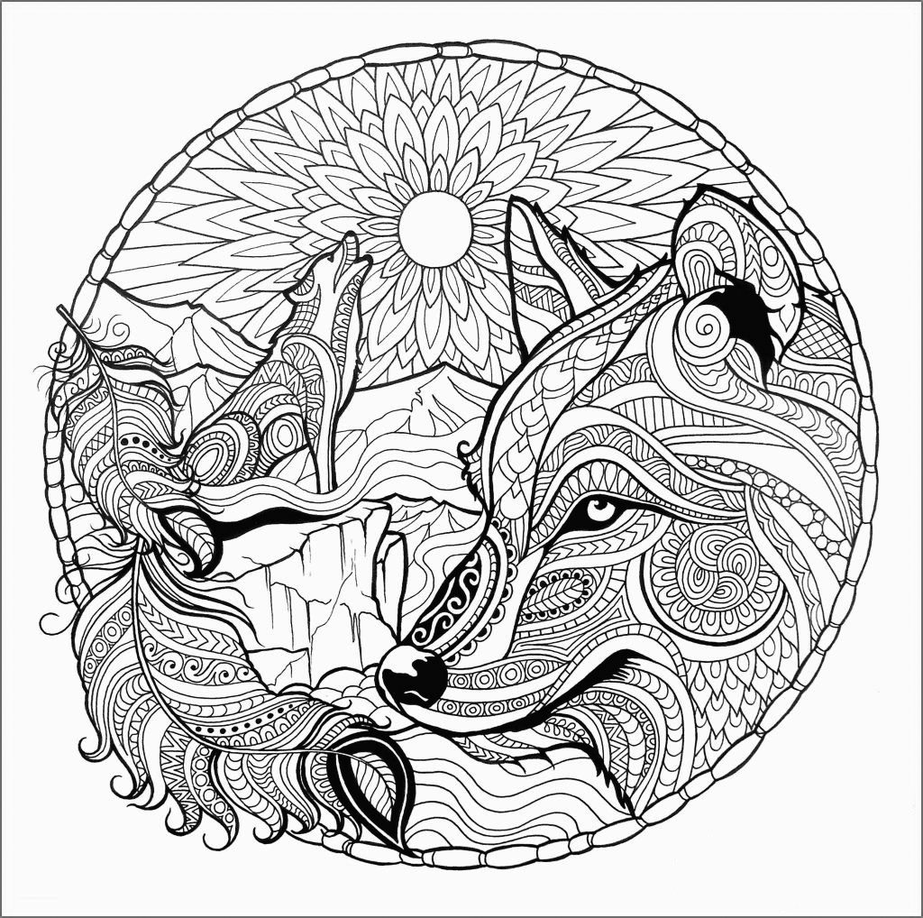 Wolf Mandala Scene Coloring Page for Adults