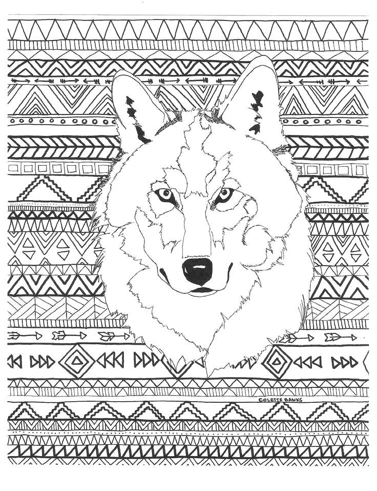 Wolf Pattern Coloring Page for Adults