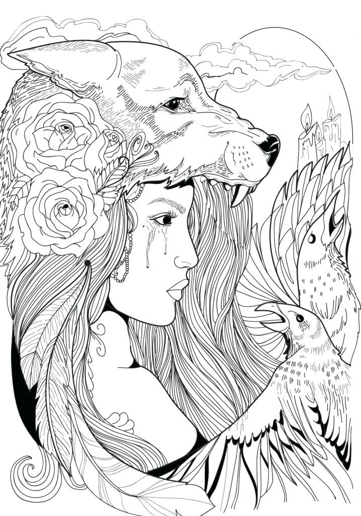 Woman with Wolf Hat Fantasy Coloring Page