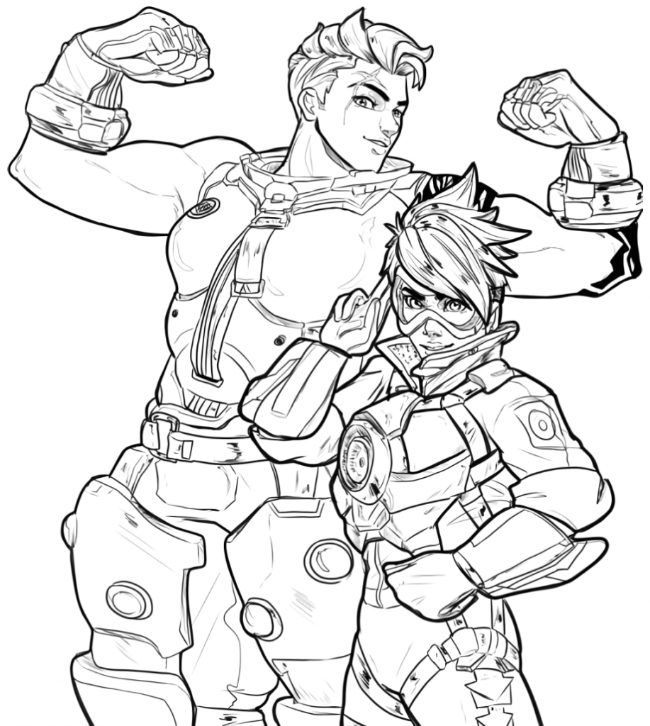 Zarya and Tracer - Overwatch Coloring Pages