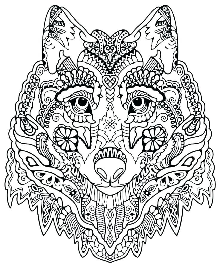 Zen Pattern Wolf Adult Coloring Page