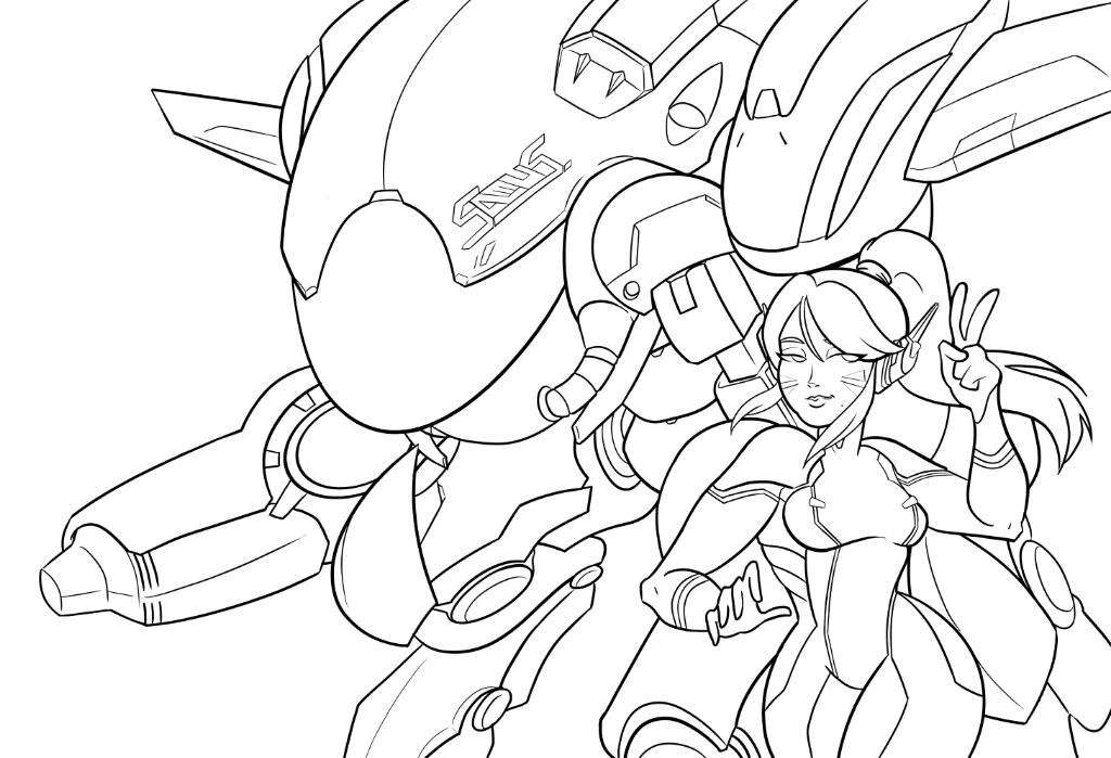 d.va and Samus Coloring Page