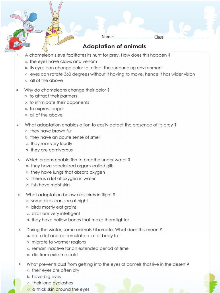 Animals - 4th Grade Science Worksheet