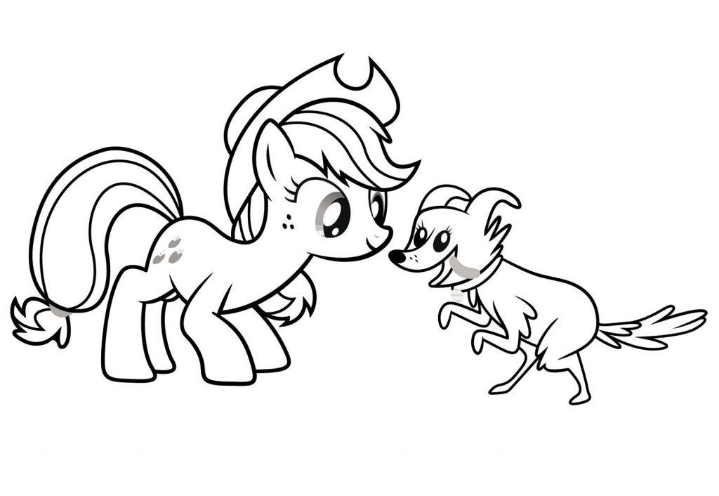 Applejack Meets a Dog Coloring Page