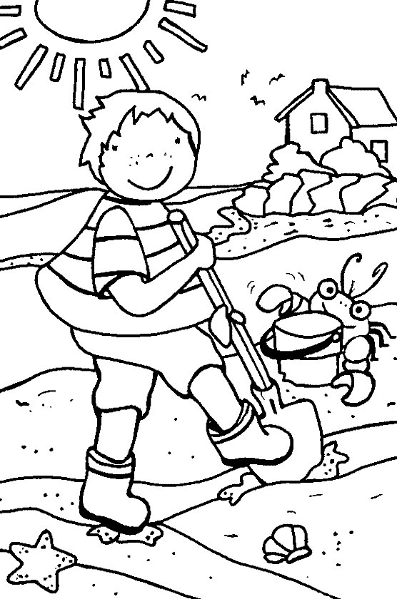 August on the Beach Coloring Page
