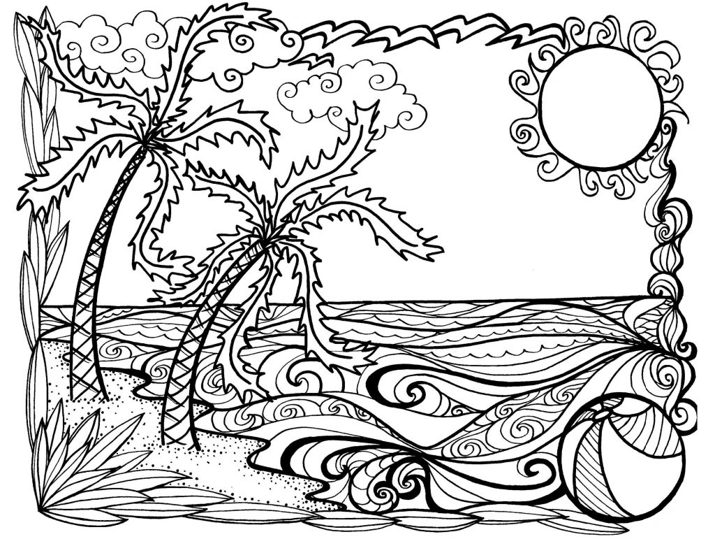 Beautiful Beach Scene Coloring Page