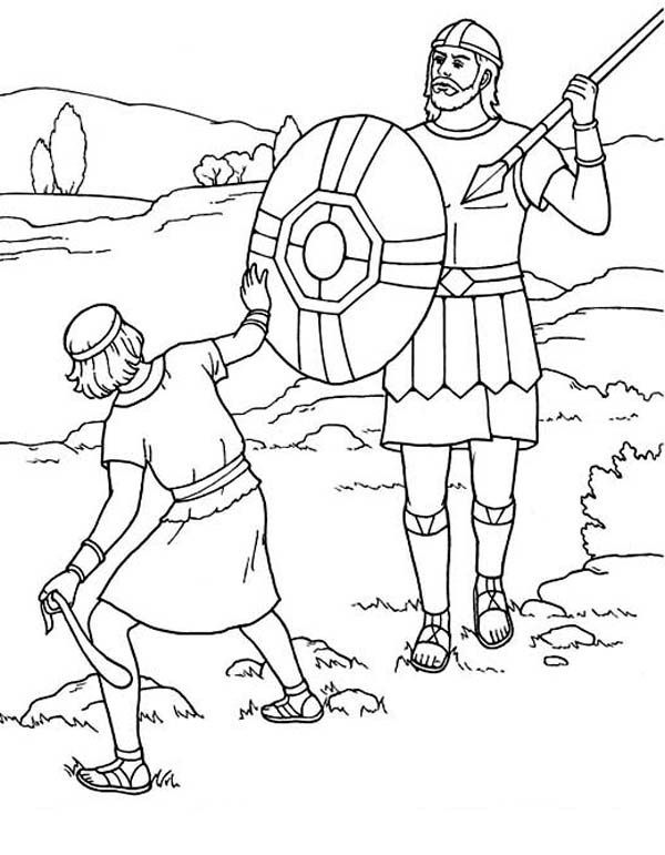Bible Coloring Page - David and Goliath