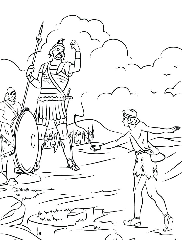 Bible Coloring Pages David and Goliath