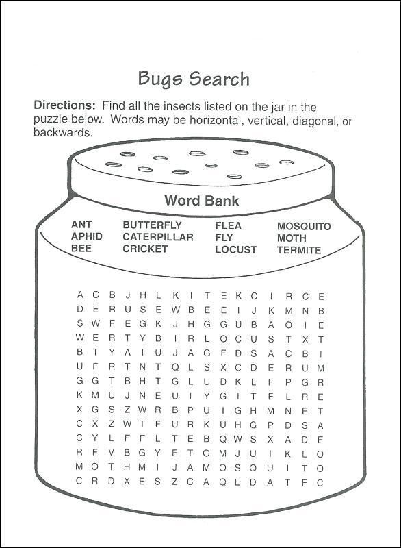 Bugs - Third Grade Word Search