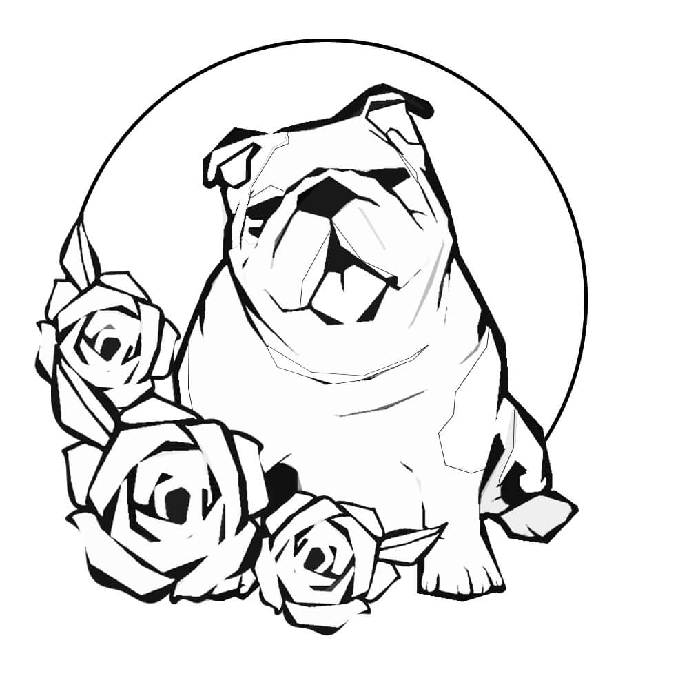 Bulldog and Roses Coloring Pages