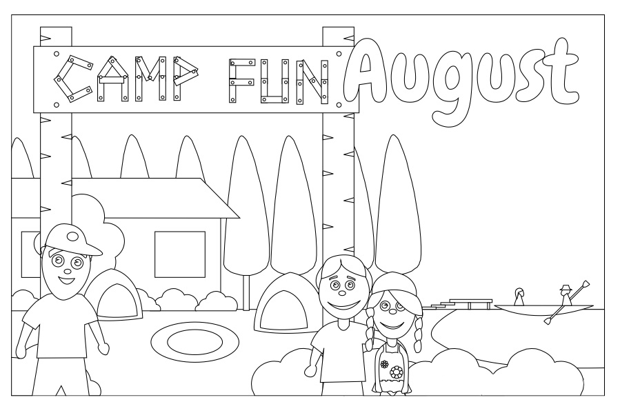 Camp Fun in August Coloring Page