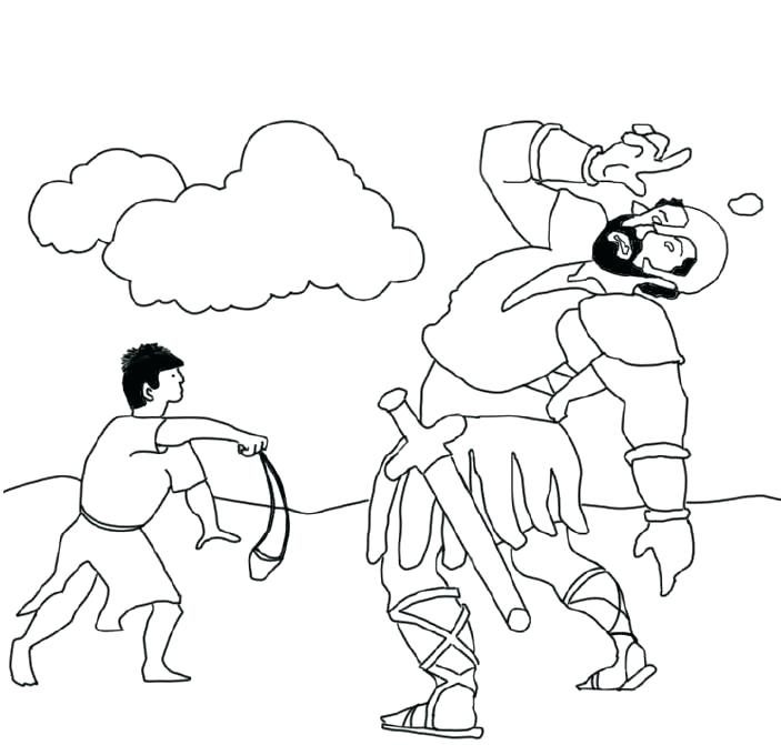 Christian David and Goliath Story Coloring Page