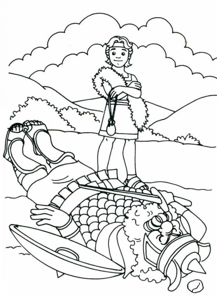 David Defeating Goliath Coloring Page