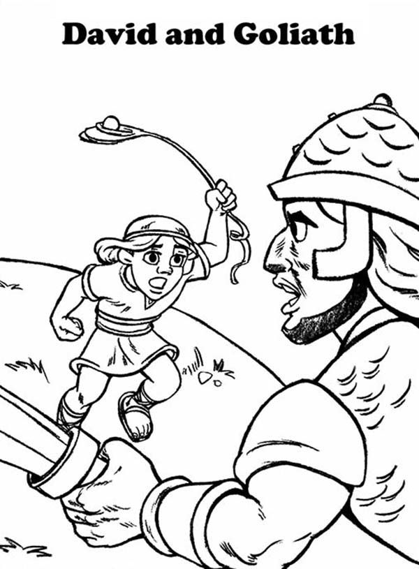 David Fighting Goliath Coloring Page