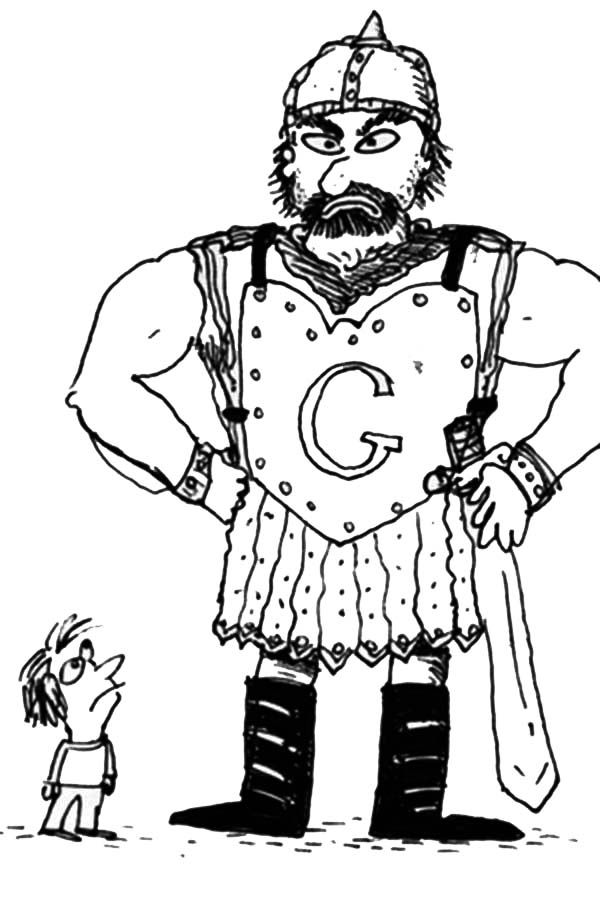 David and Goliath Coloring Page Printables